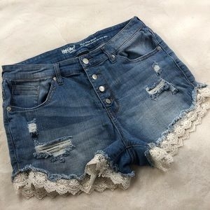 Mossimo high rise lace trim shorts size 12